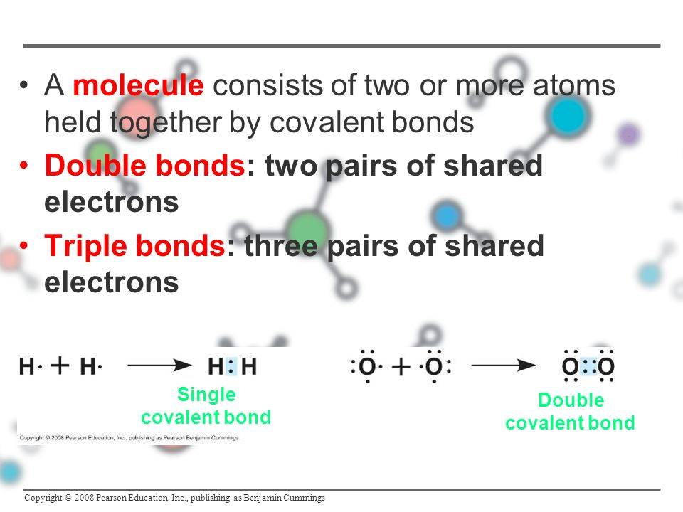 Double bonds: two pairs of shared electrons