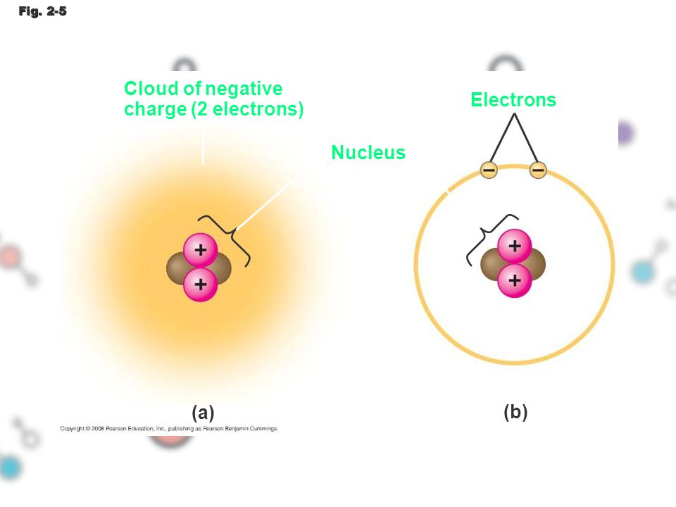 Cloud of negative charge (2 electrons) Electrons Nucleus (a) (b)