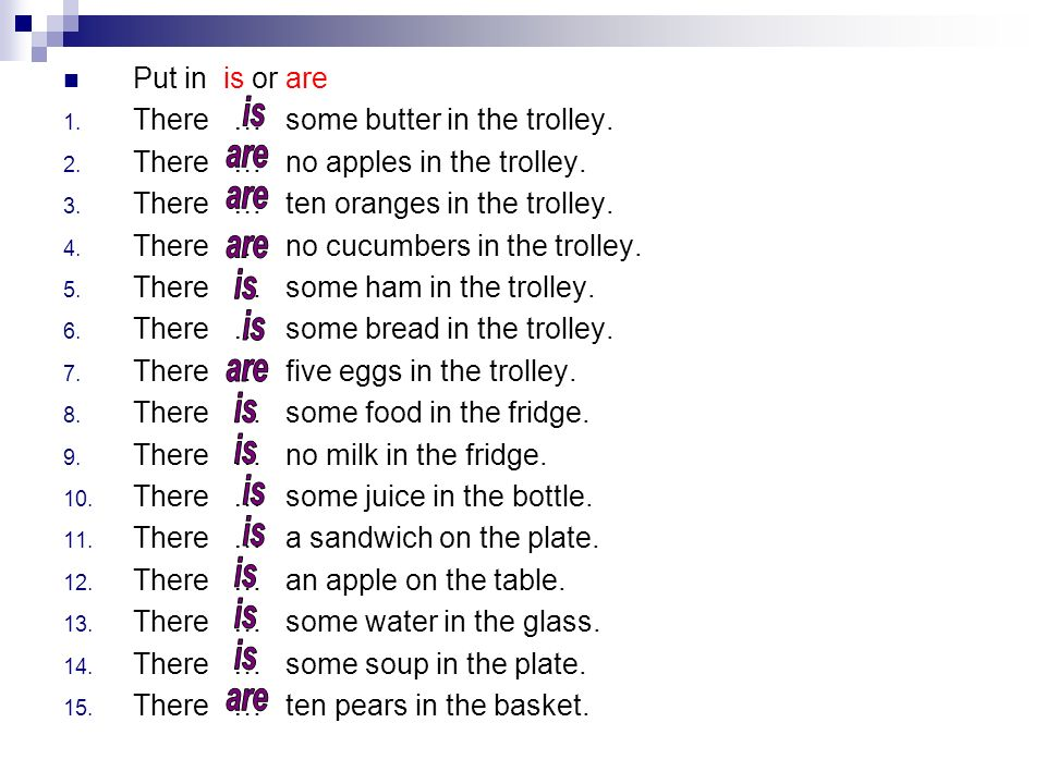 There … some butter in the trolley. There … no apples in the trolley.