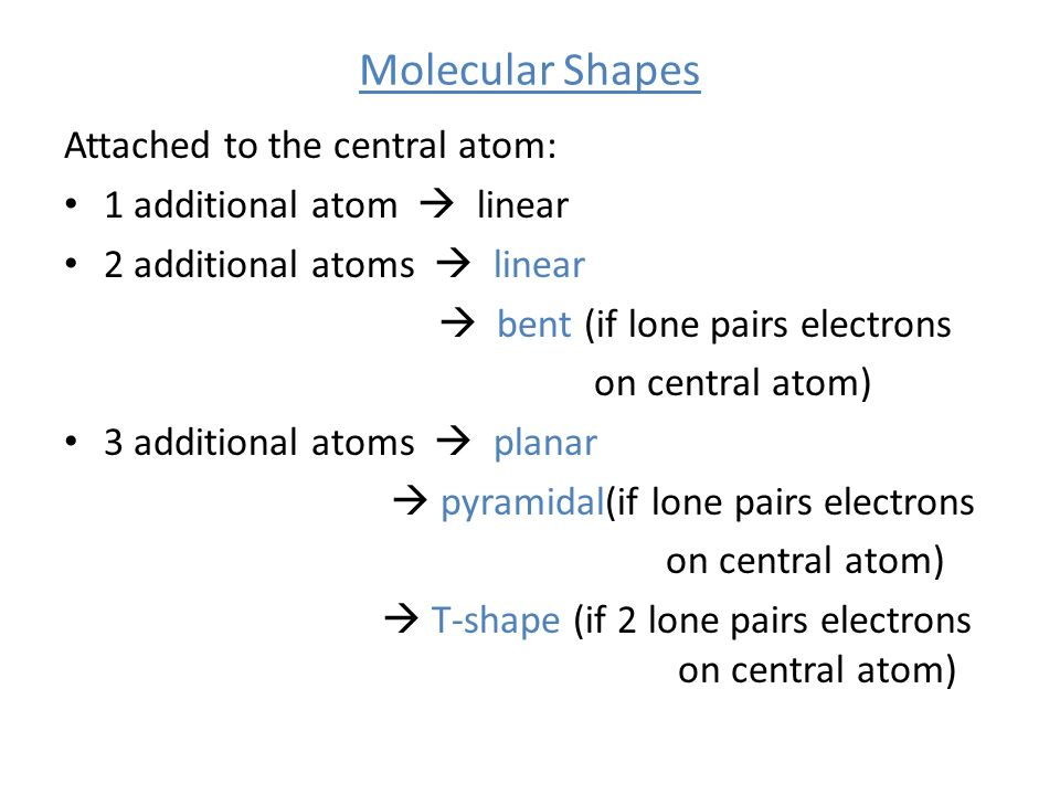 Molecular Shapes Attached to the central atom: