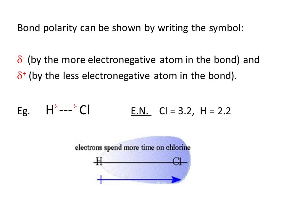 Bond polarity can be shown by writing the symbol: d- (by the more electronegative atom in the bond) and d+ (by the less electronegative atom in the bond).