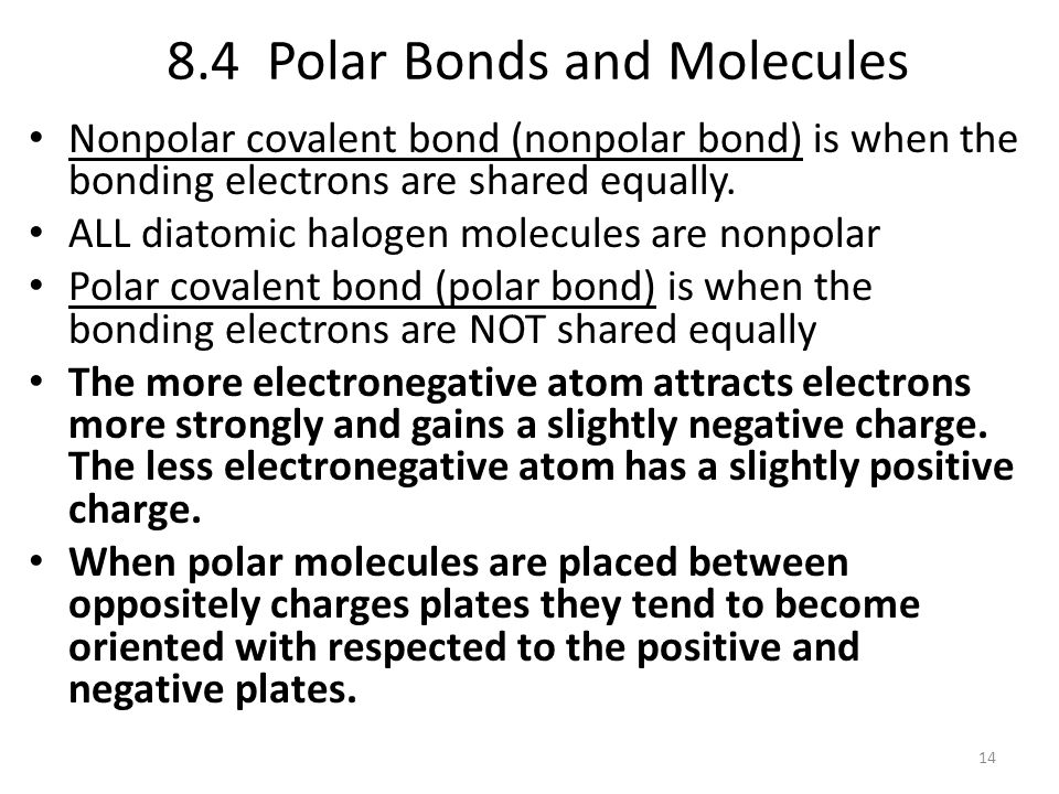 8.4 Polar Bonds and Molecules