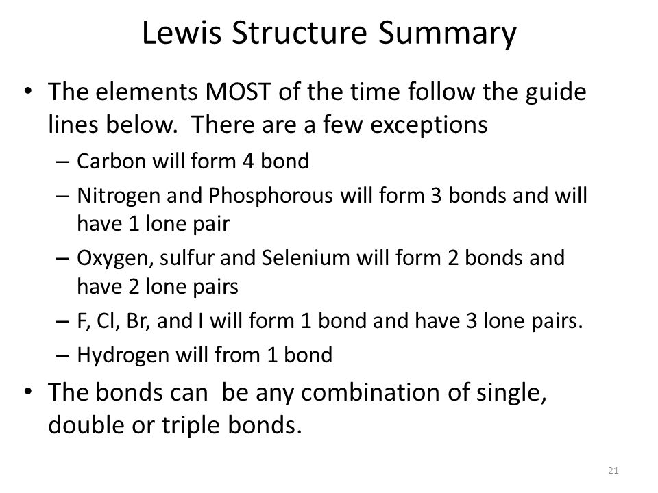 Lewis Structure Summary