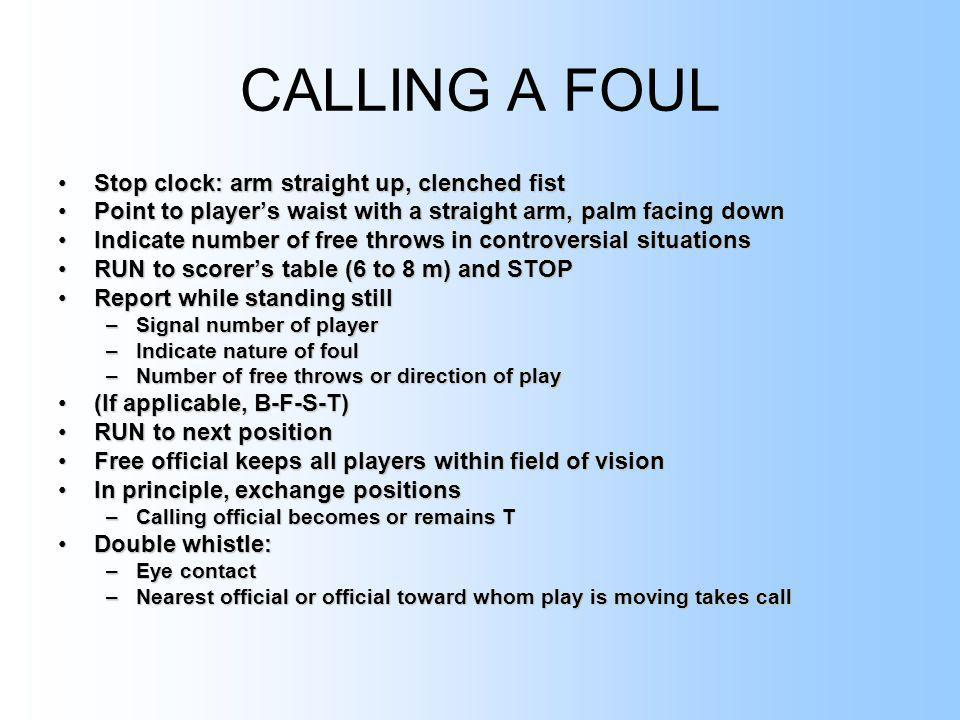 CALLING A FOUL Stop clock: arm straight up, clenched fist