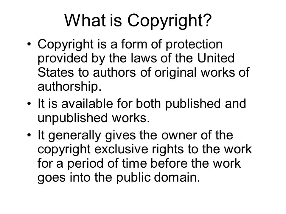 Technology for school leaders part 1 ppt download what is copyright copyright is a form of protection provided by the laws of the united fandeluxe Image collections