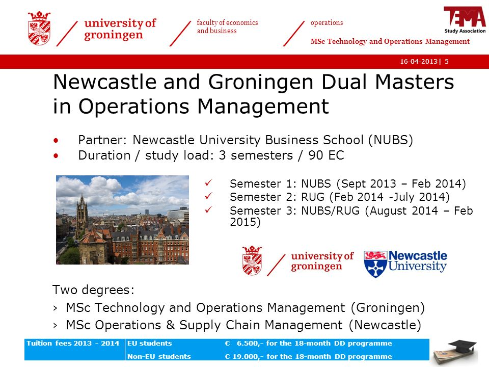 Newcastle And Groningen Dual Masters In Operations
