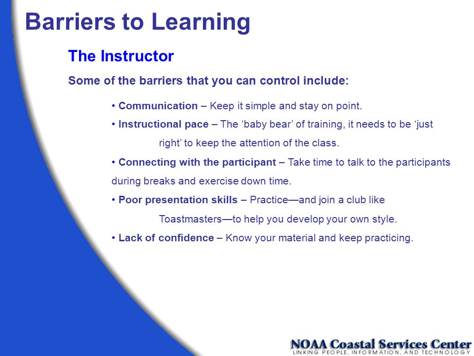 Barriers to Learning The Instructor