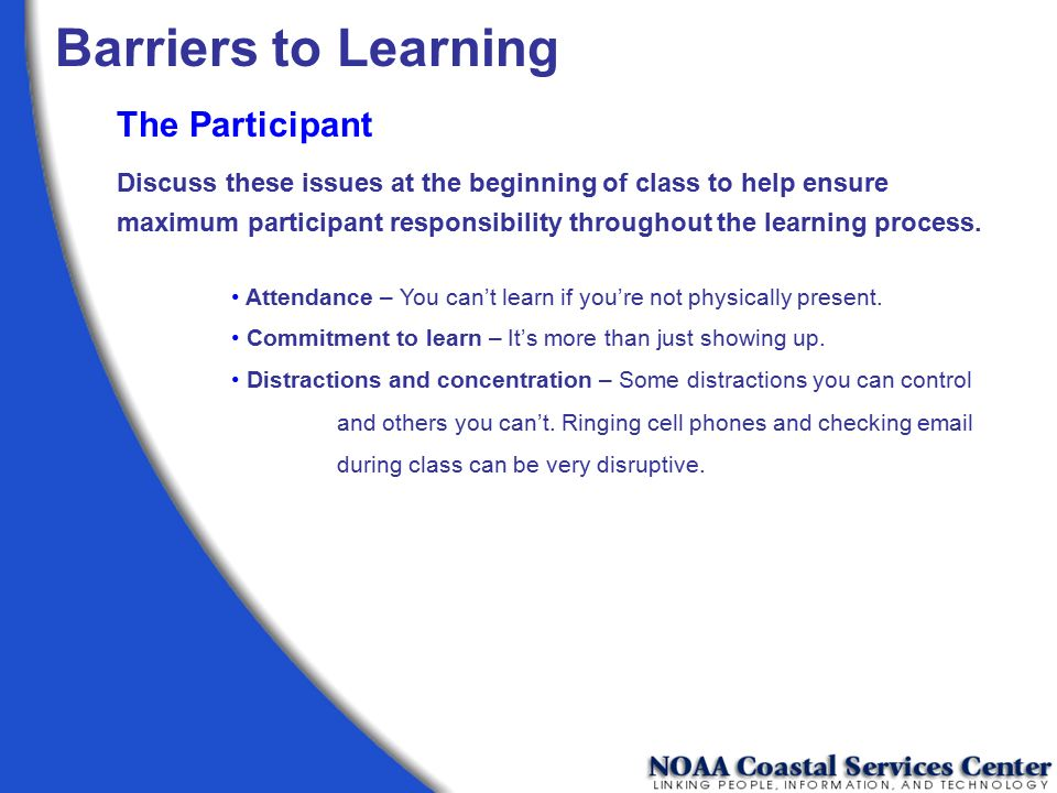 Barriers to Learning The Participant