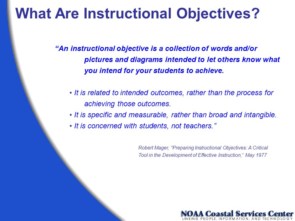 What Are Instructional Objectives