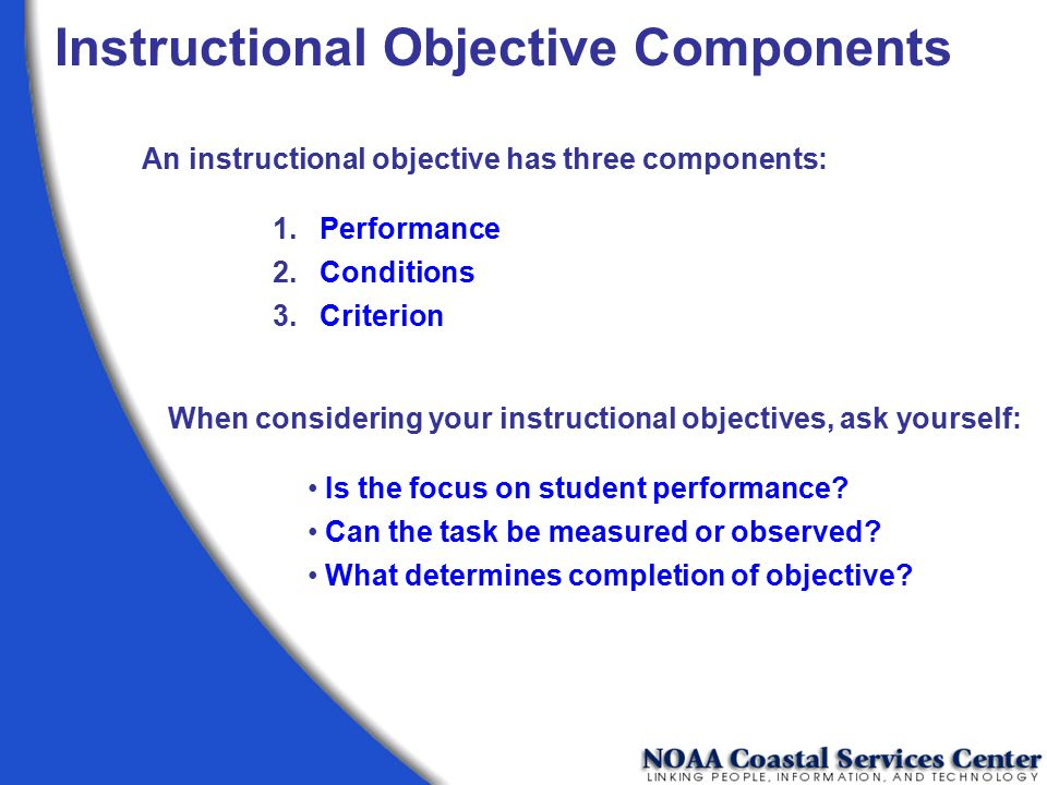 Instructional Objective Components
