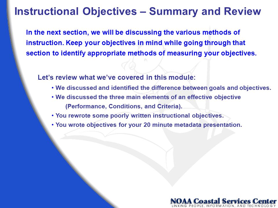 Instructional Objectives – Summary and Review