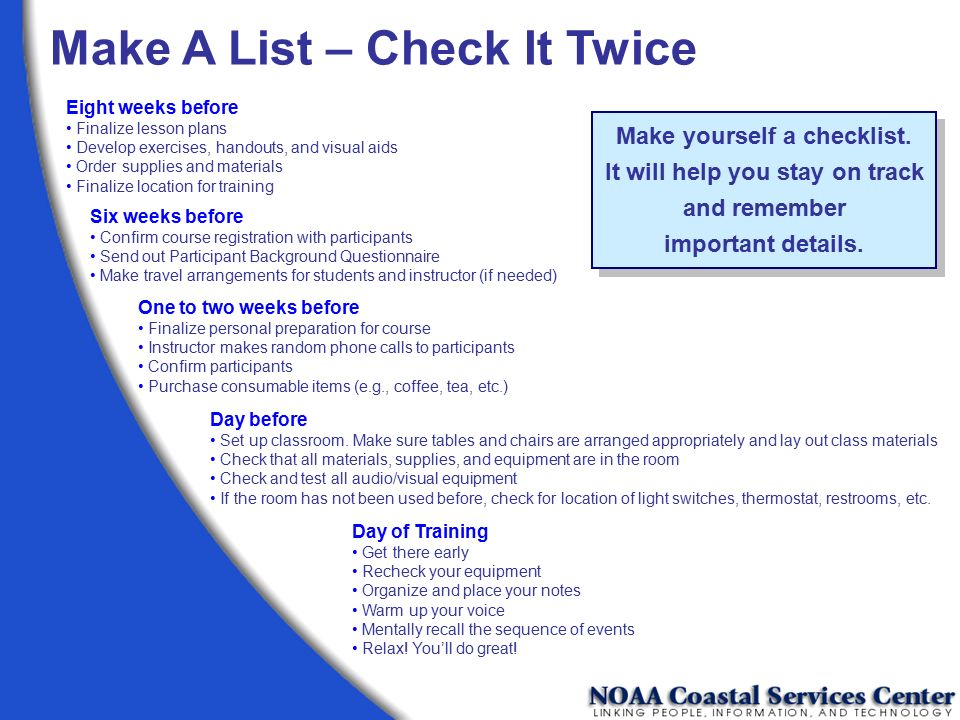 Make yourself a checklist. It will help you stay on track and remember