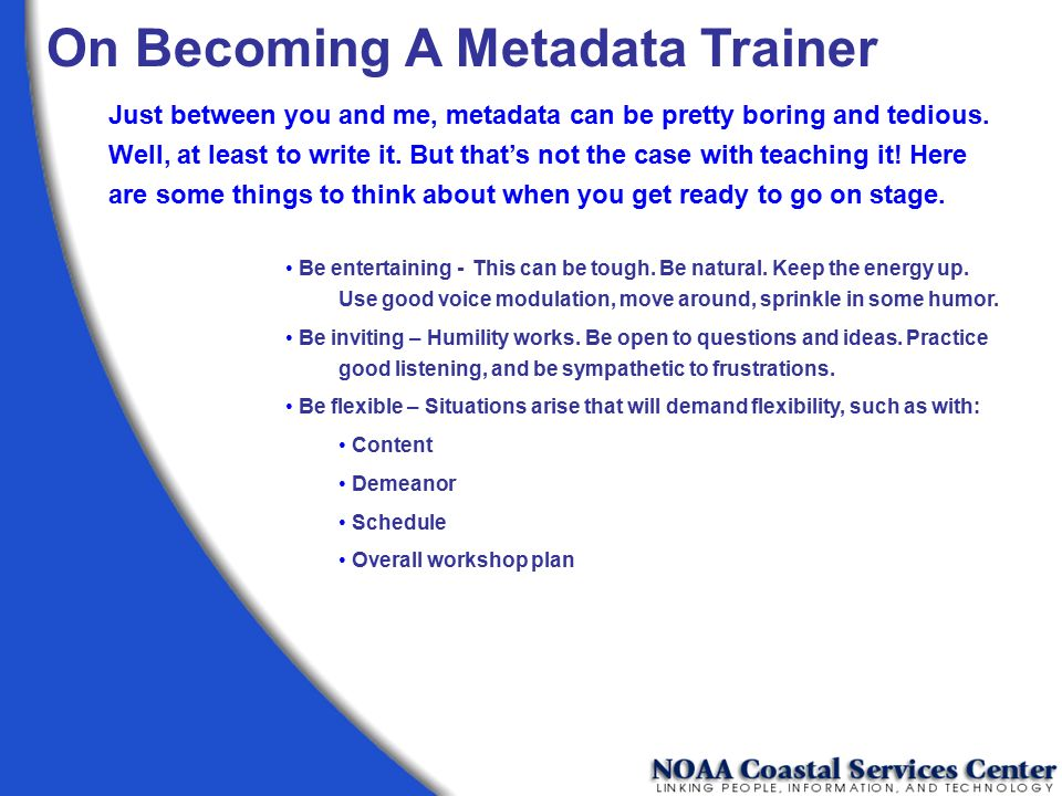 On Becoming A Metadata Trainer