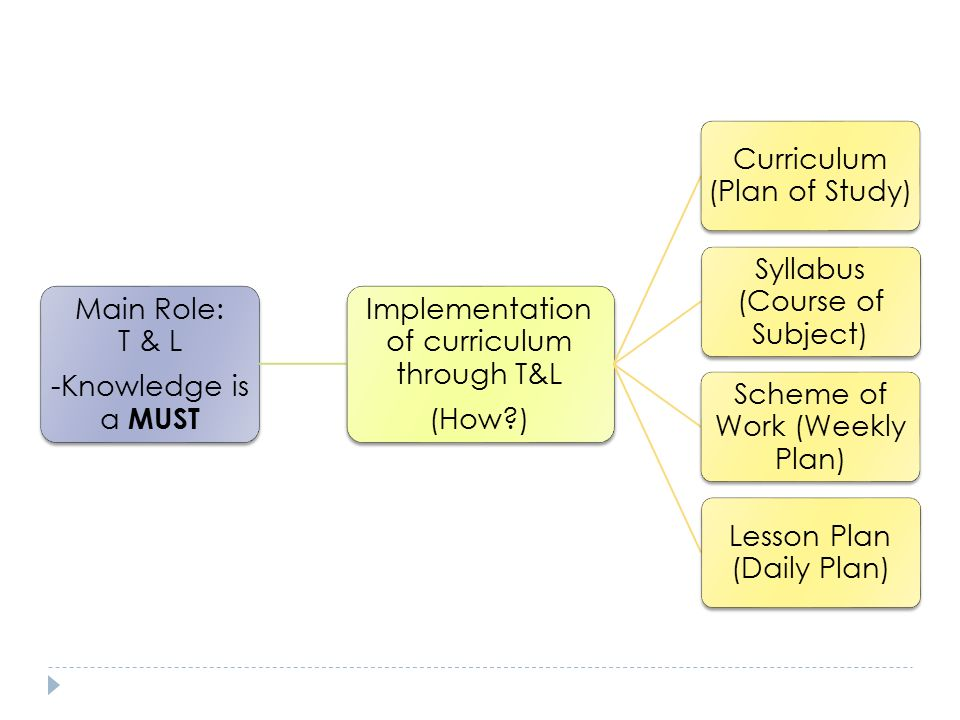 Implementation of curriculum through T&L