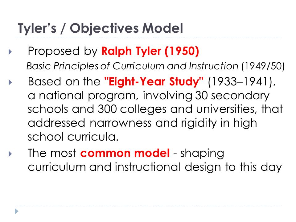 Tyler's / Objectives Model