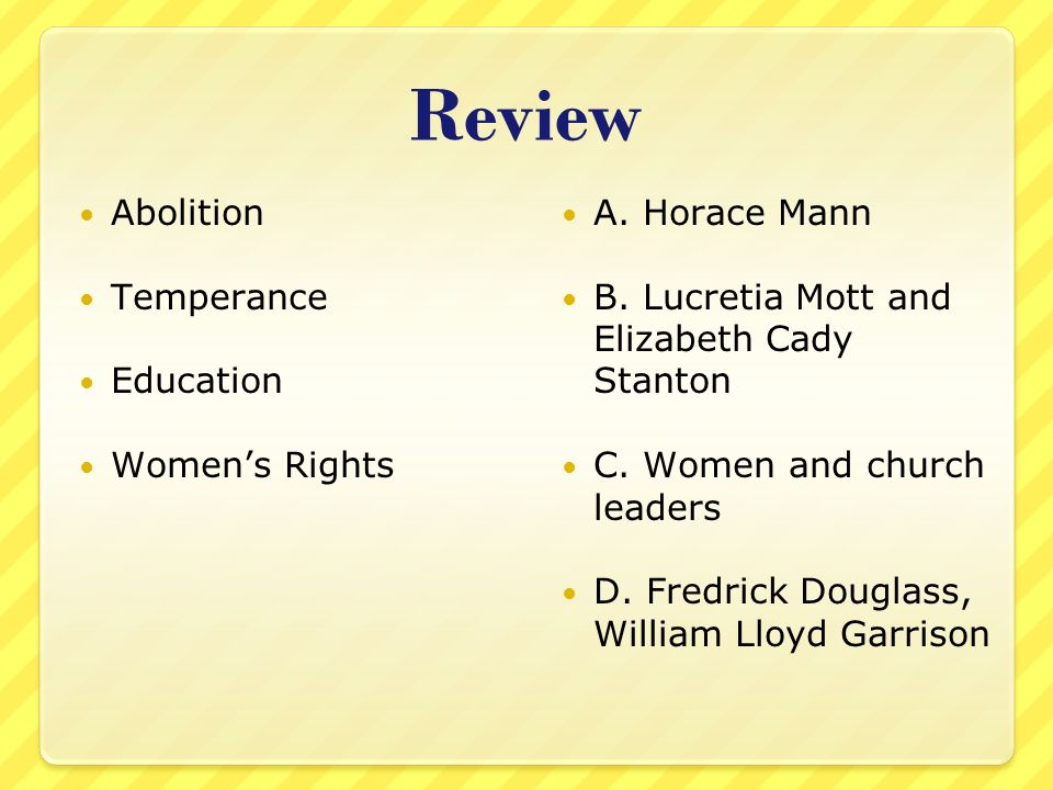 Review Abolition Temperance Education Women's Rights A. Horace Mann