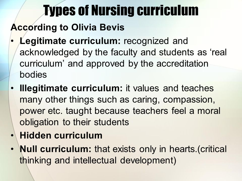 Types of Nursing curriculum