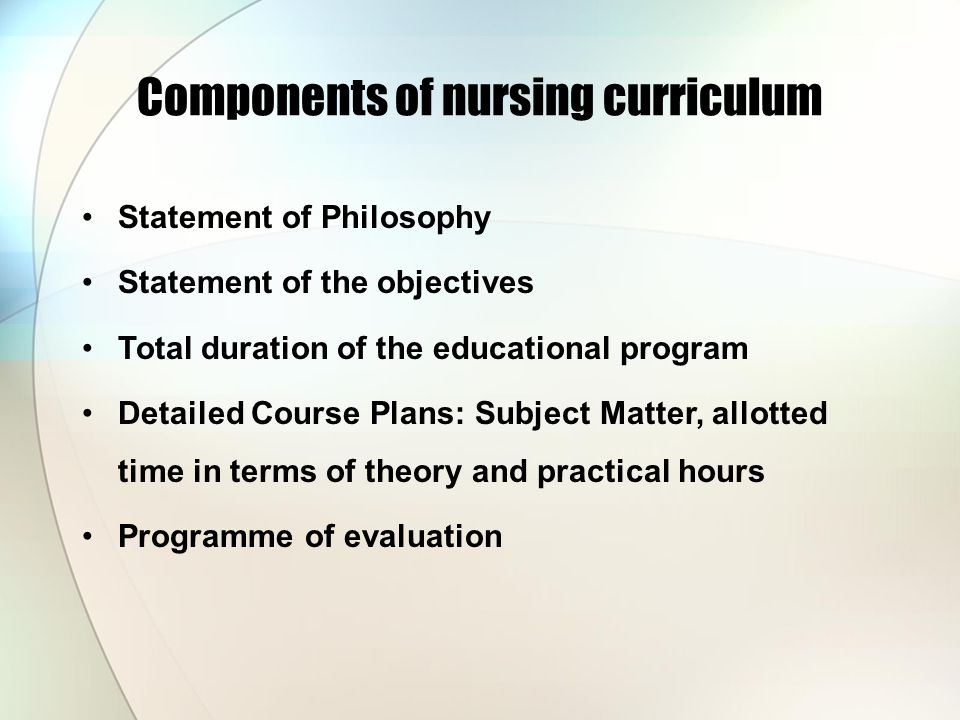 Components of nursing curriculum