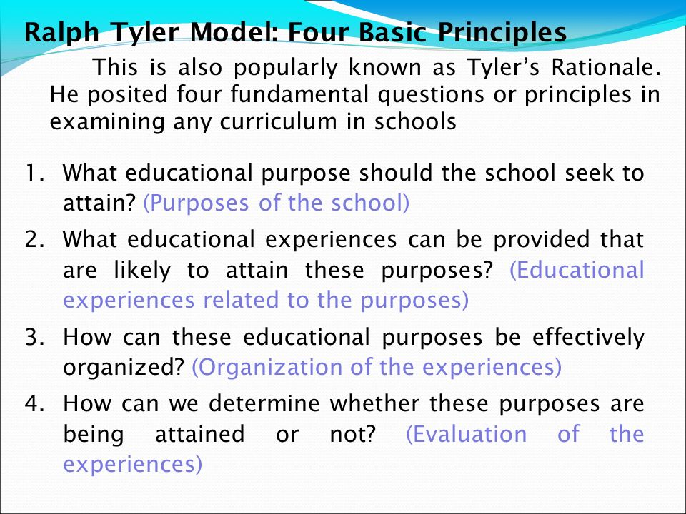 Ralph Tyler Model: Four Basic Principles
