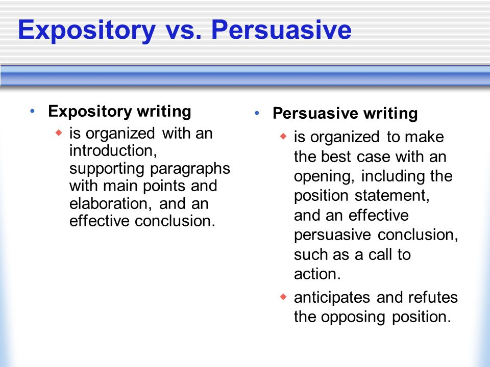 persuasive and expository paragraph example Expository writing is writing that is used to inform you can take the word expose from expository, so in essence you are exposing something about your topic in these types of essays, you are.