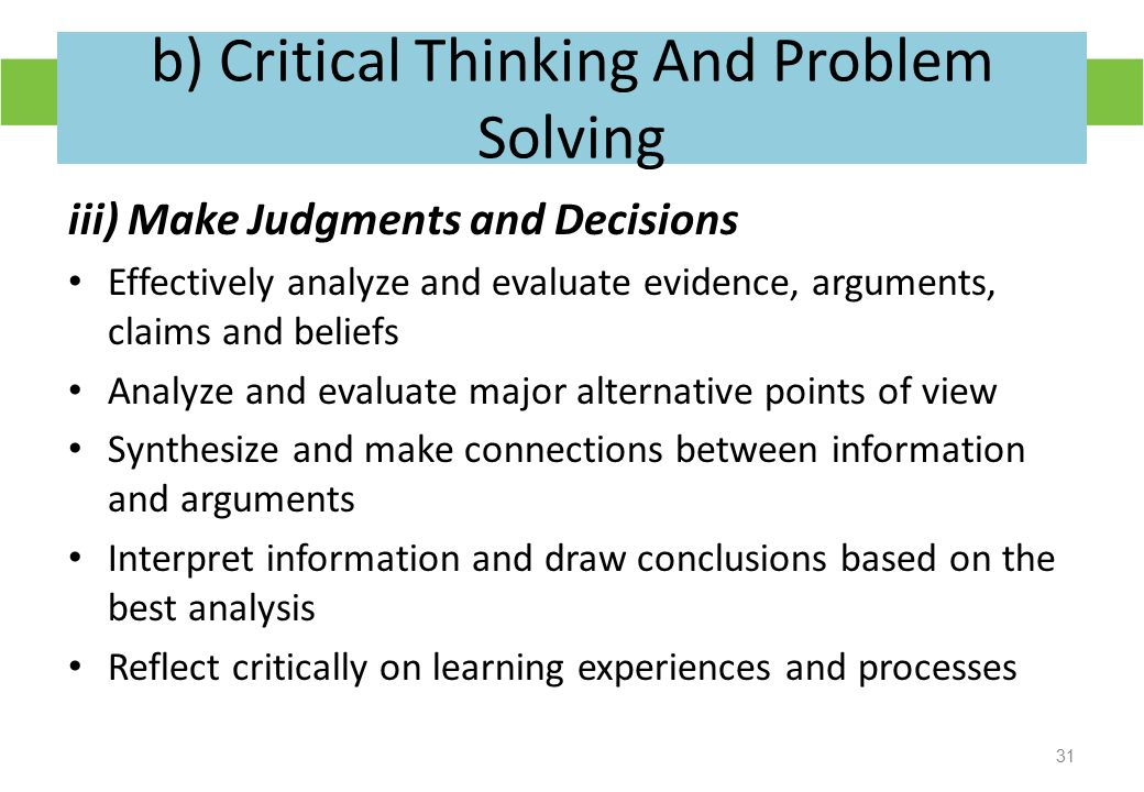 critical thinking and problem solving essays Decision-making and problem-solving improving your critical thinking skills takes a demonstration perhaps of the critical importance of good critical thinking.