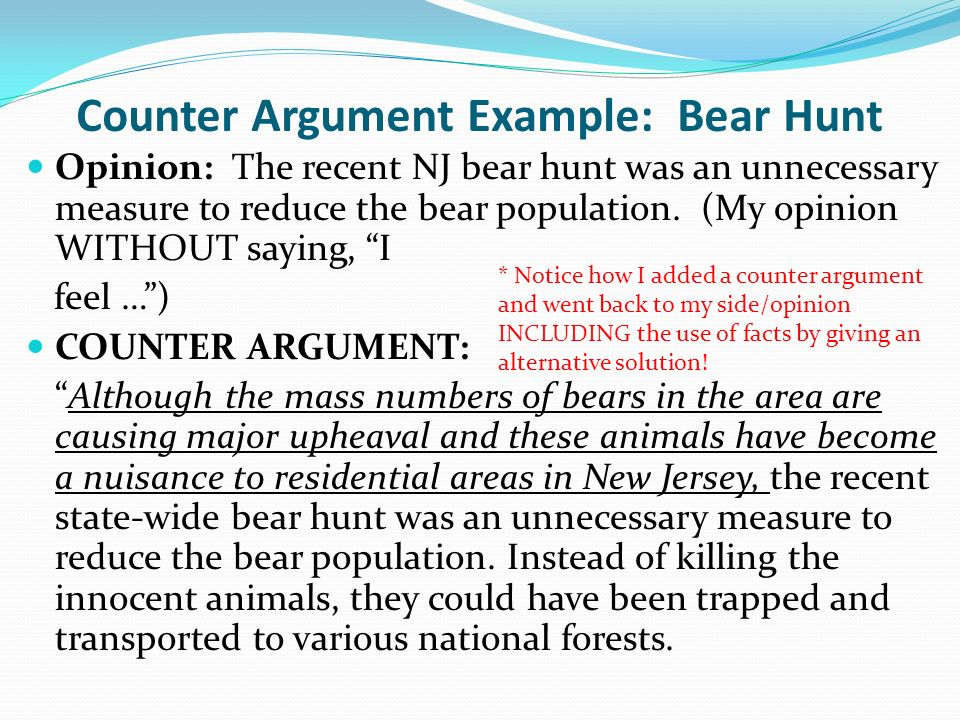 8 Counter Argument Example: ...