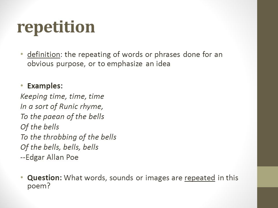 "Literary devices with ""annabel lee"" - ppt download Repetition In Literature"