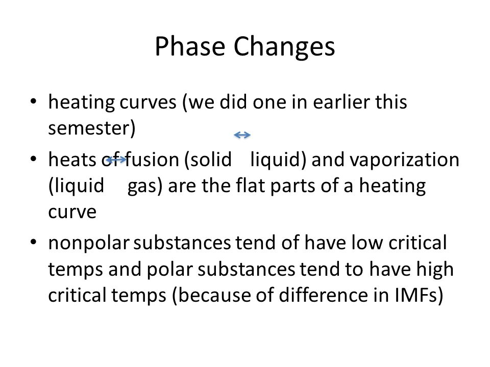 Phase Changes heating curves (we did one in earlier this semester)