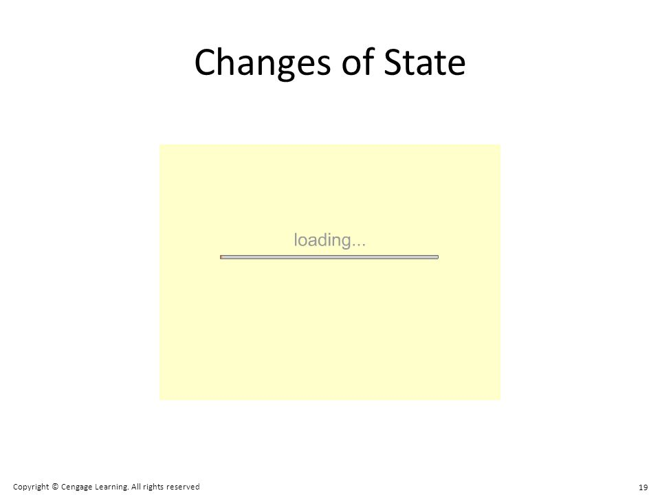 Changes of State 19 Copyright © Cengage Learning. All rights reserved