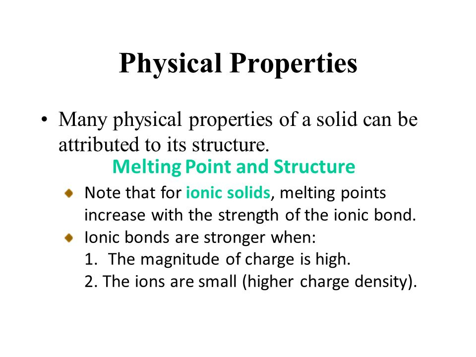 solid and melting point essay Indicator of the purity of an organic compound solid mixtures tend to show broad melting point ranges the identity or non-identity of 2 solids, which have similar melting points, can.