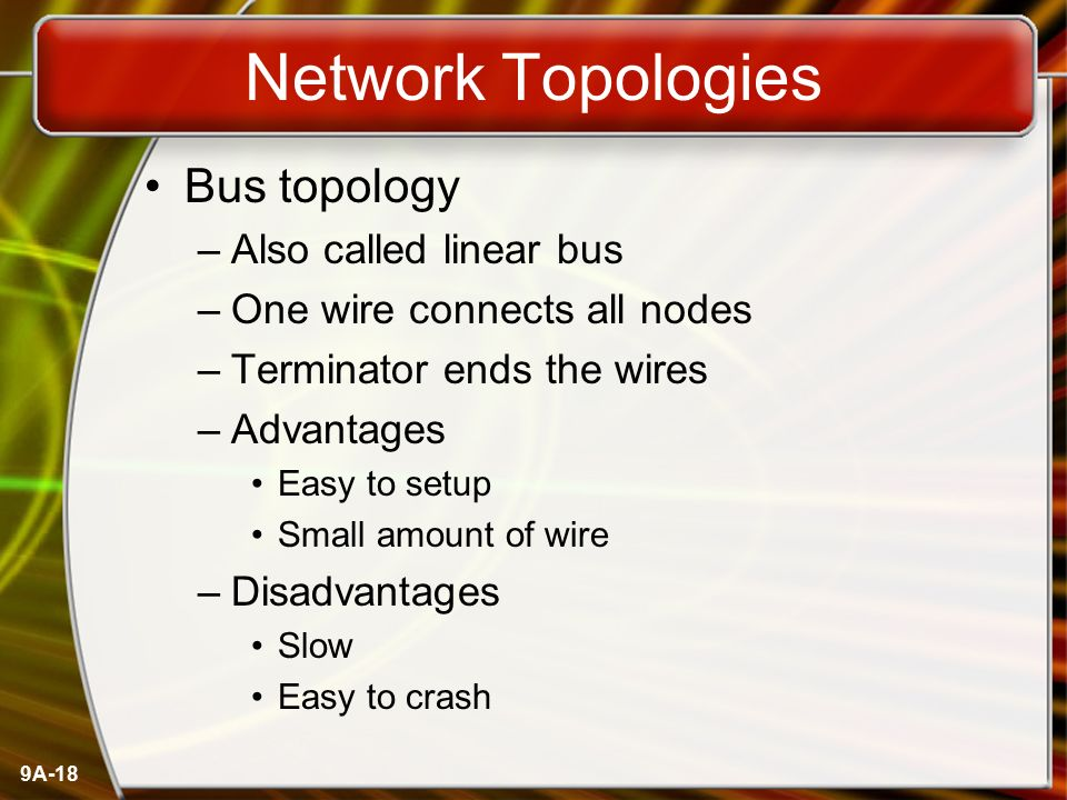 Network Topologies Bus topology Also called linear bus