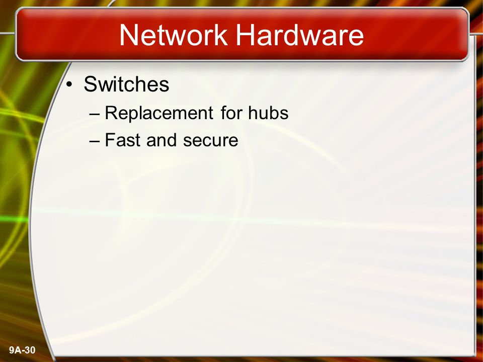 Network Hardware Switches Replacement for hubs Fast and secure