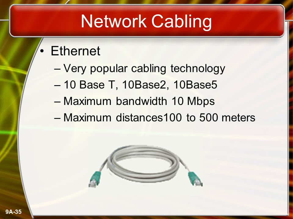 Network Cabling Ethernet Very popular cabling technology