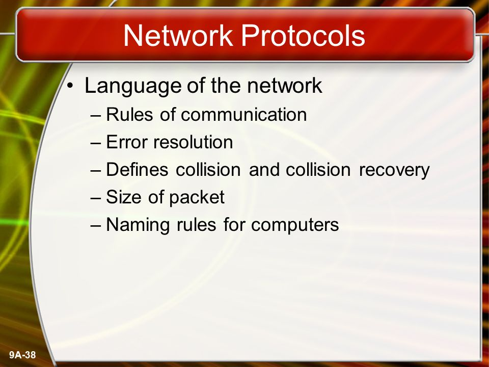 Network Protocols Language of the network Rules of communication