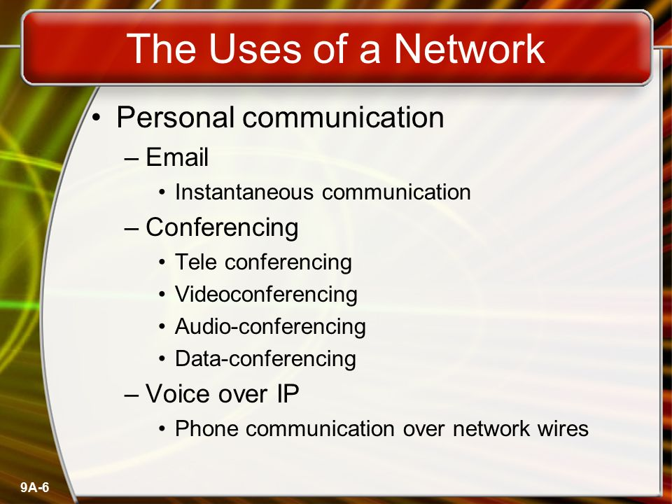 The Uses of a Network Personal communication  Conferencing