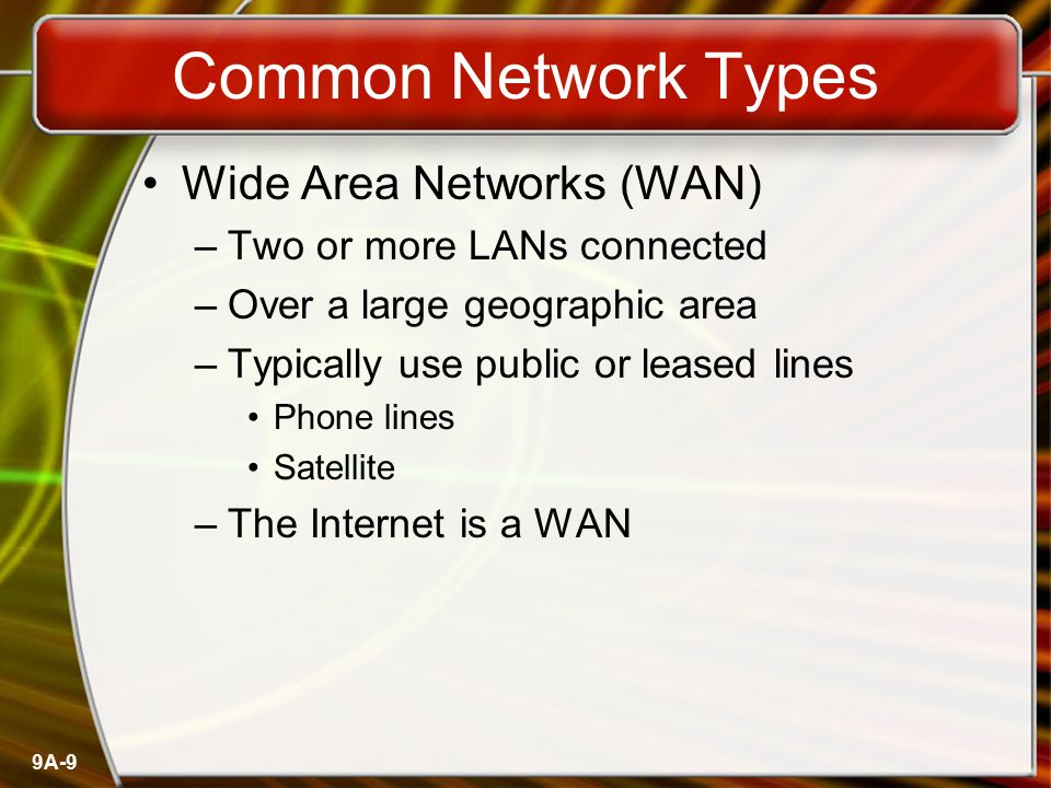 Common Network Types Wide Area Networks (WAN)