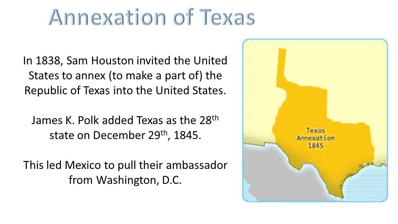 annexation of texas the lone Chapter 12 the lone star republic study play first president of the republic of texas sam houston, elected 1836 who was the vice president in 1836  many anti-slaver groups in the.