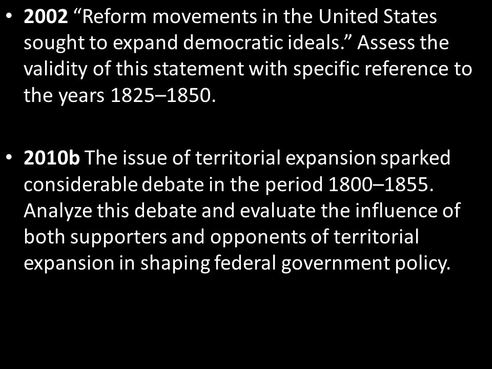 apush dbq reform movement 1825 1850 Reform movement dbq reform movements during 1825-1850 all contributed to the expansion of democratic ideals by their motivations and the strides taken to help reform.