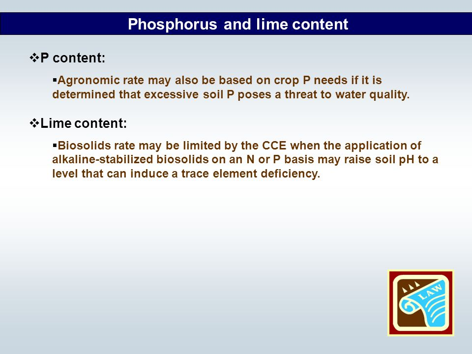 Phosphorus and lime content