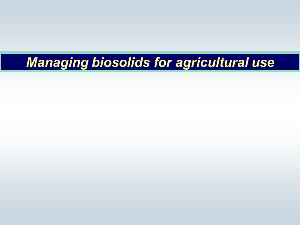 Managing biosolids for agricultural use