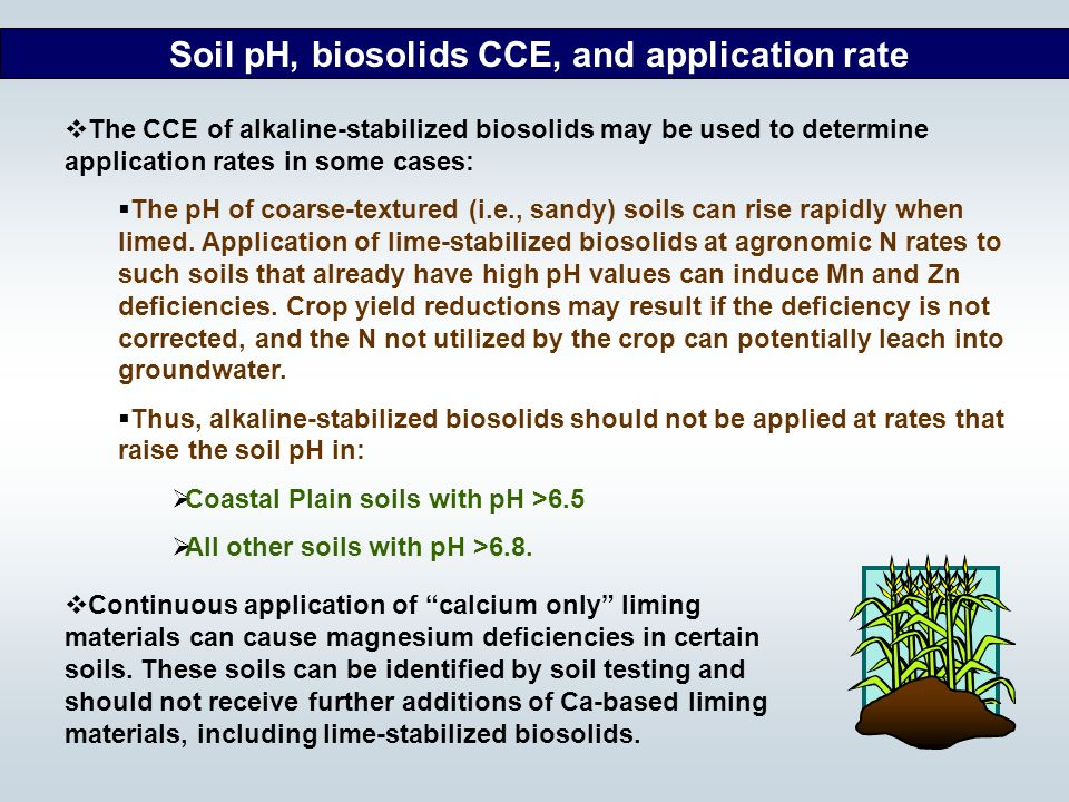 Soil pH, biosolids CCE, and application rate