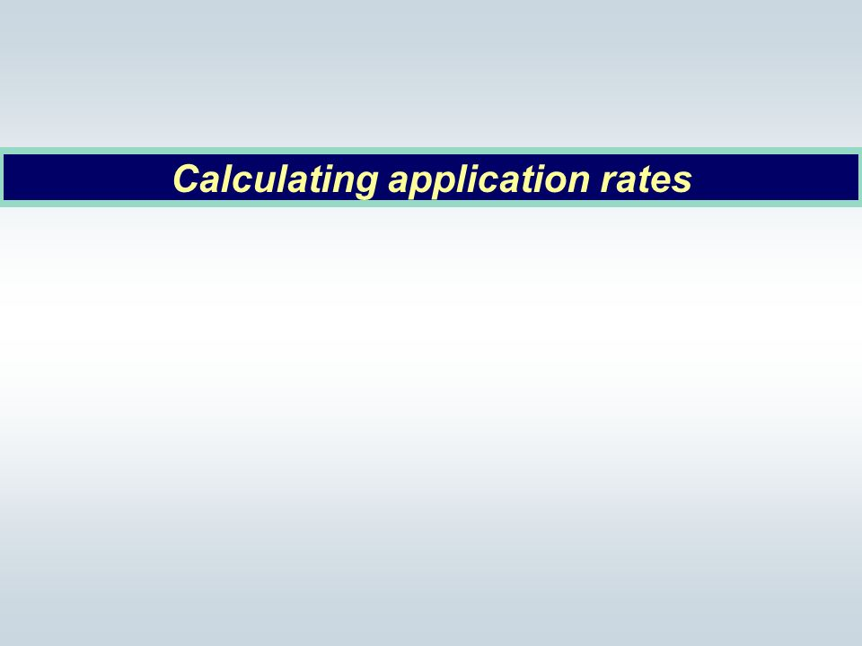 Calculating application rates