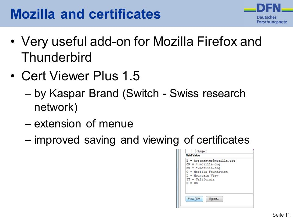 Mozilla and certificates