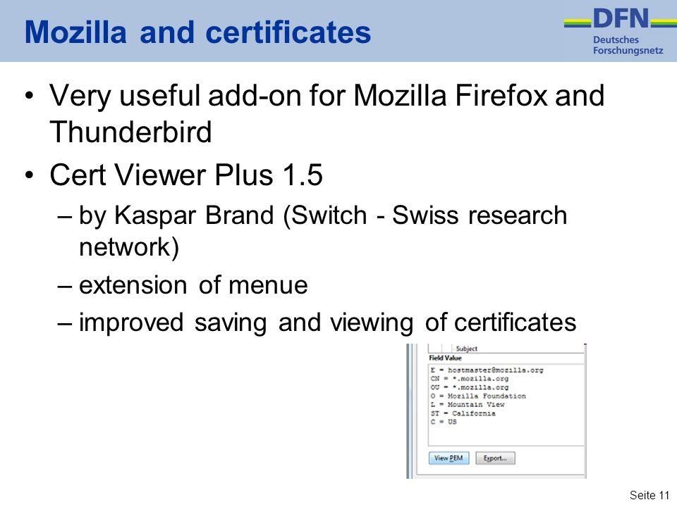Mozilla and certificates