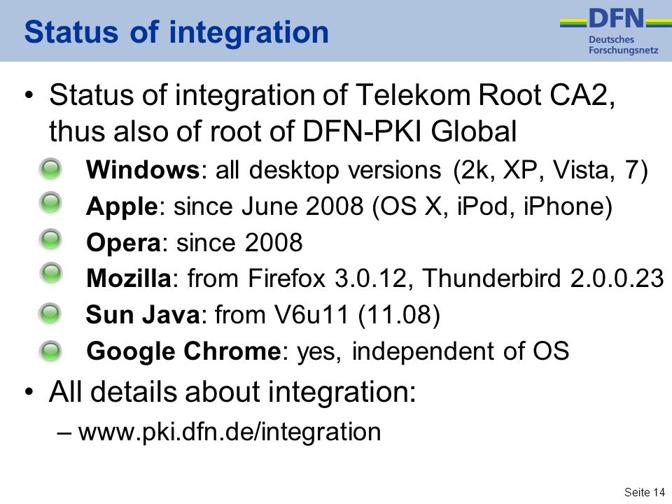 Status of integration Status of integration of Telekom Root CA2, thus also of root of DFN-PKI Global.