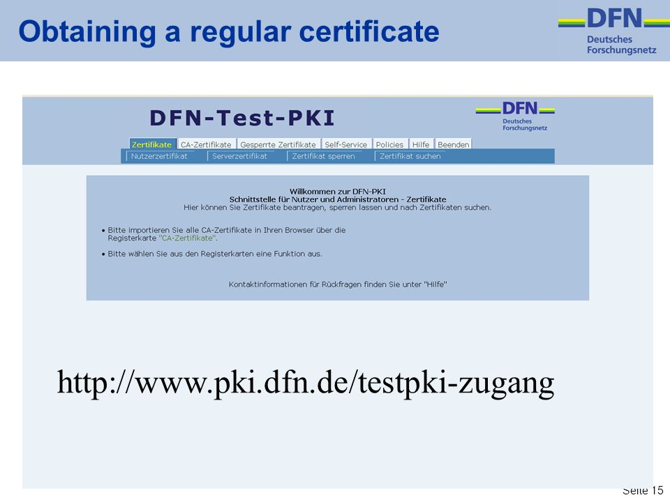 Obtaining a regular certificate