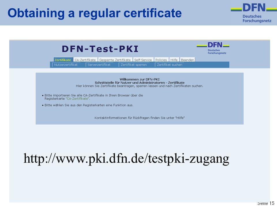 Obtaining a regular certificate