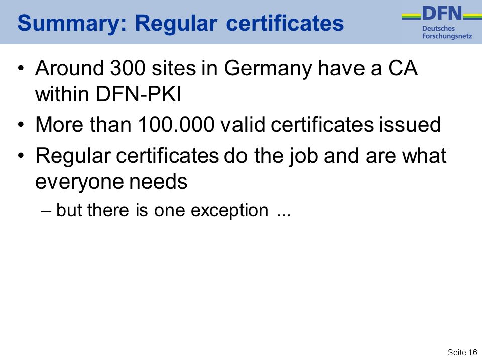 Summary: Regular certificates