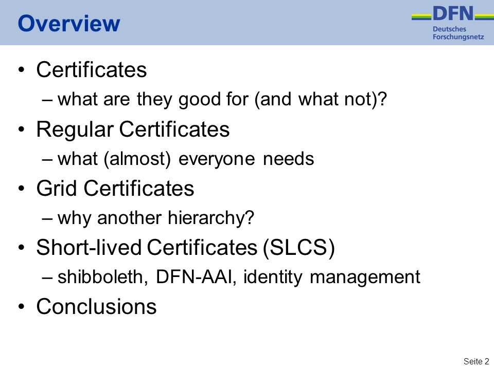 Overview Certificates Regular Certificates Grid Certificates