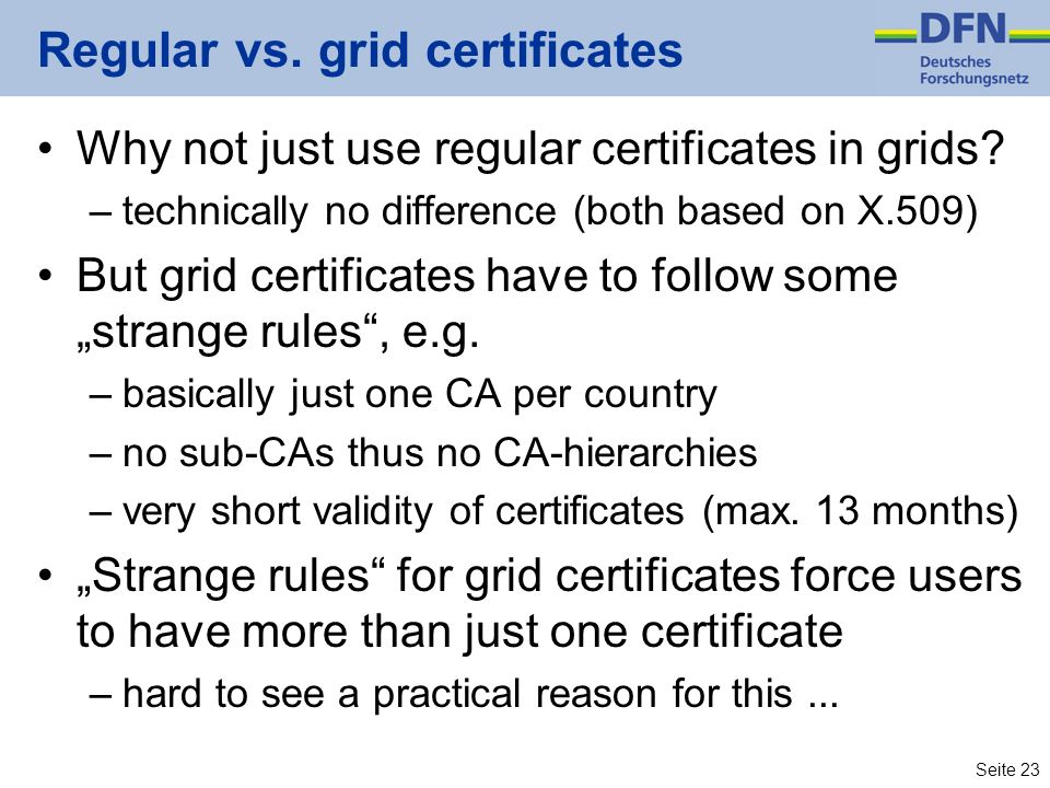 Regular vs. grid certificates